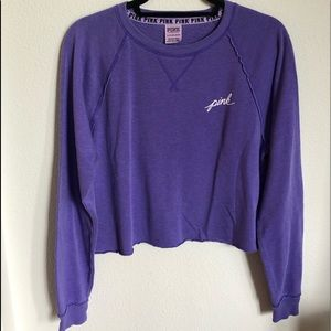 VS PINK Cropped Soft Purple Logo Sweater Top